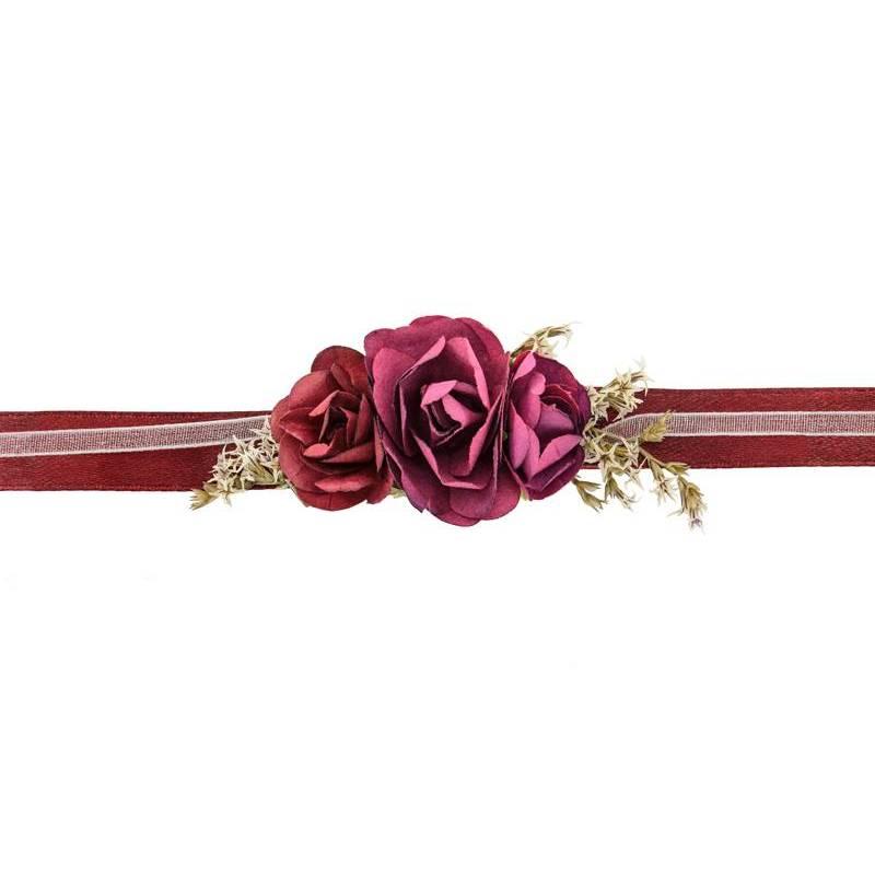Corsage poignet fleur, rouge foncé