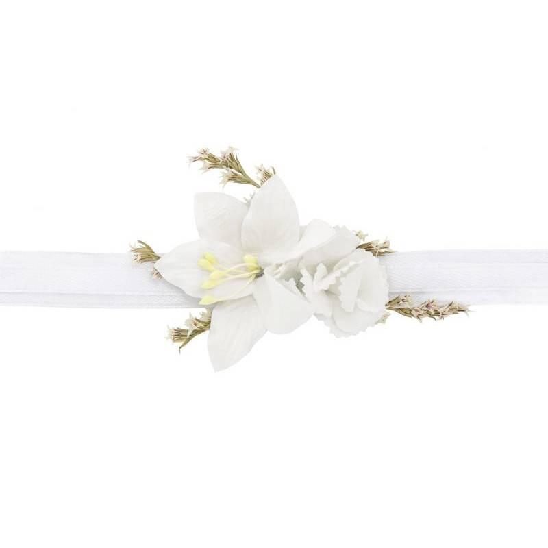 Corsage fleur au poignet, blanc