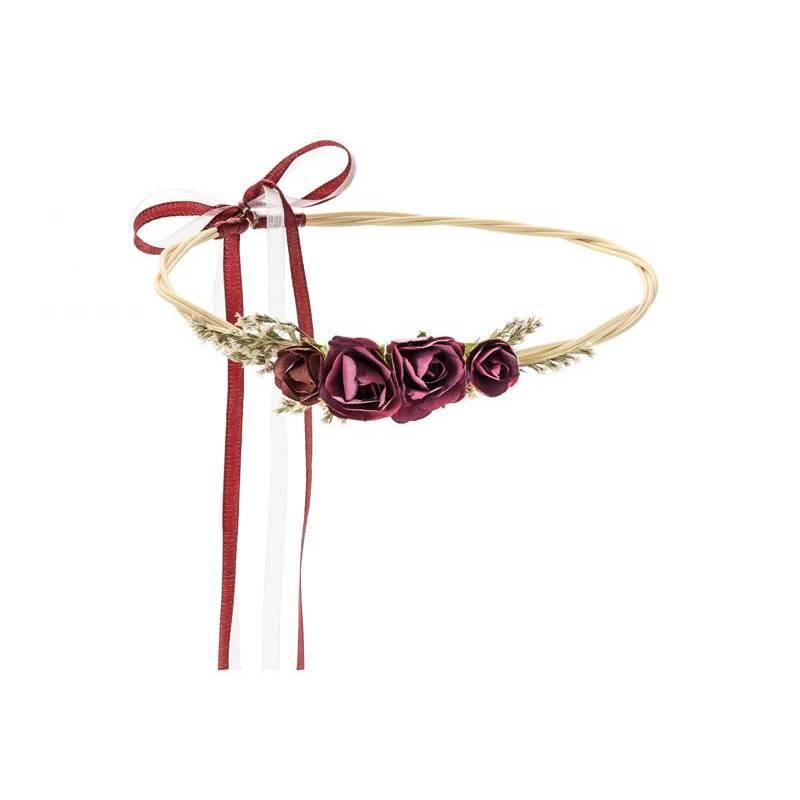 Couronne de fleurs, rouge foncé, 18cm