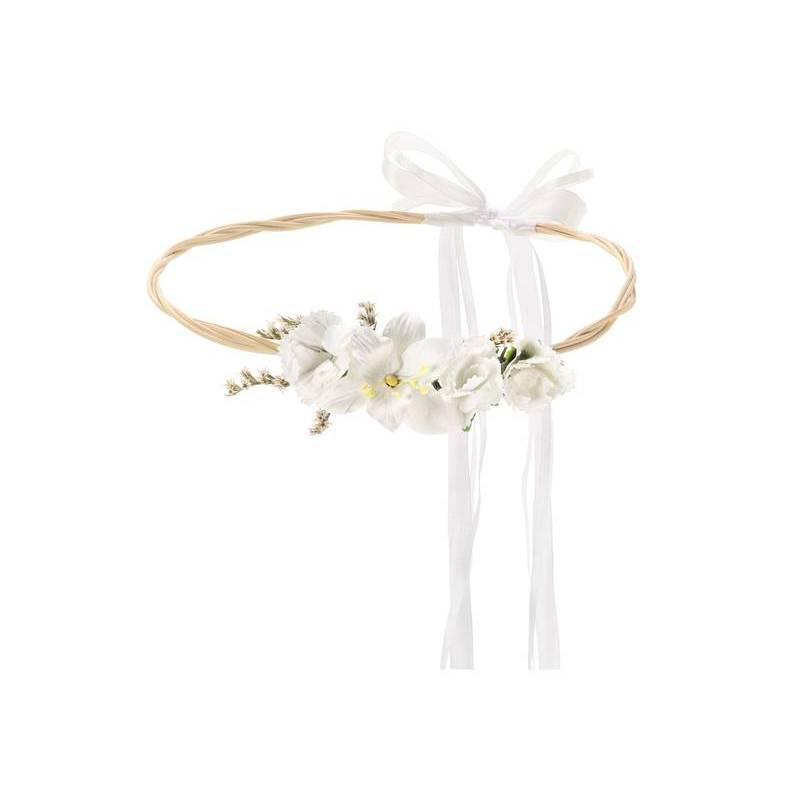 Couronne de fleurs, blanche, 18cm