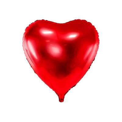 Ballon aluminium Coeur, 72x73cm, rouge