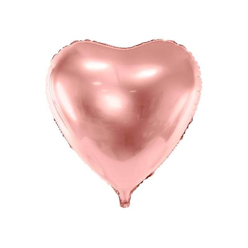 Ballon aluminium Coeur, 72x73cm, or rose