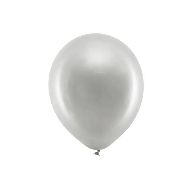 Ballons arc-en-ciel 30cm argent métallique