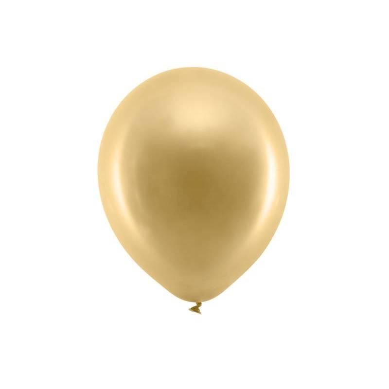 Ballons arc-en-ciel 30cm or métallique