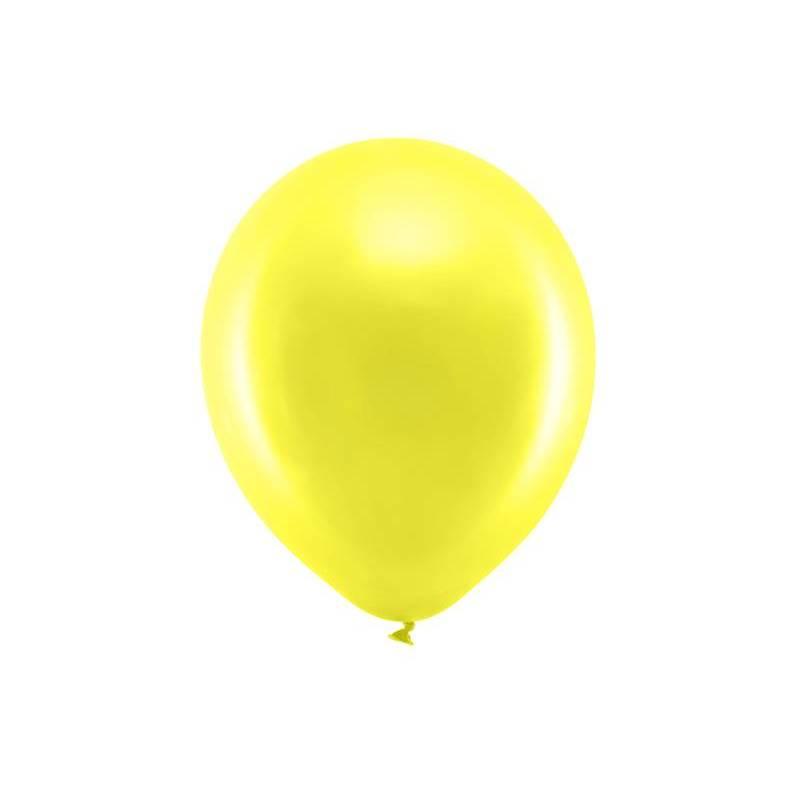 Ballons arc-en-ciel 30cm jaune métallique