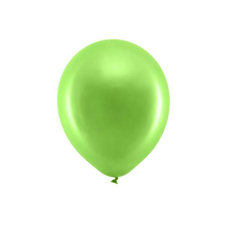Ballons arc-en-ciel 30cm vert léger métallique