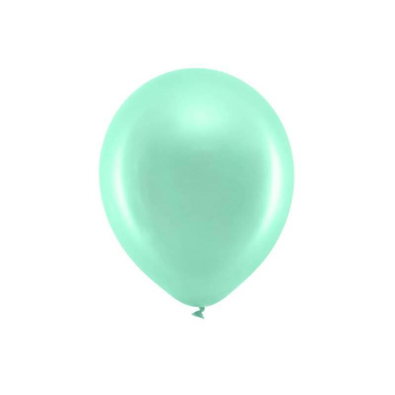 Ballons arc-en-ciel 30cm menthe métallique