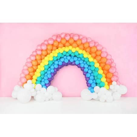 Ballons arc-en-ciel 30cm blanc pastel