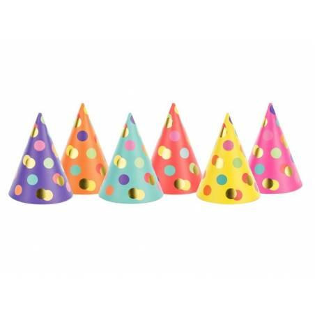 Chapeaux de fête Dots mix 16cm