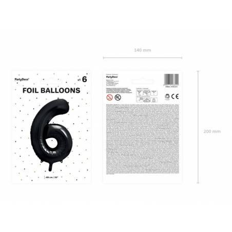 Ballon aluminium numéro 6, 86cm, noir