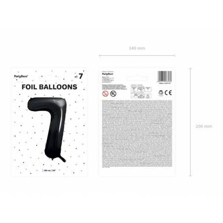 Ballon aluminium numéro 7, 86cm, noir