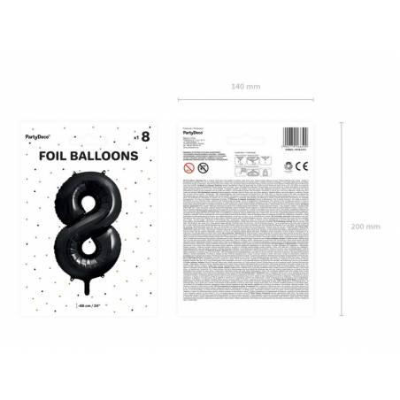 Ballon aluminium numéro 8, 86cm, noir