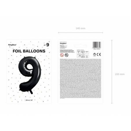 Ballon aluminium numéro 9, 86cm, noir
