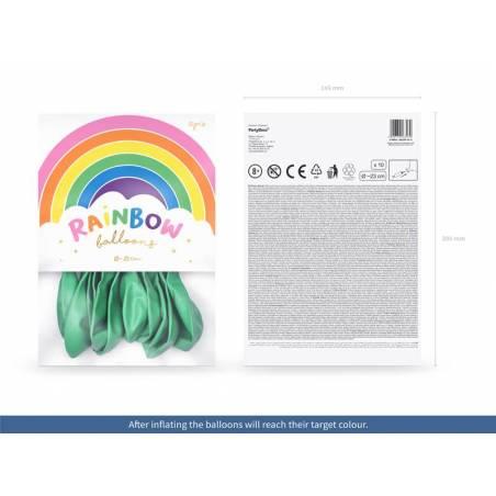 Ballons Rainbow 23cm menthe métallique