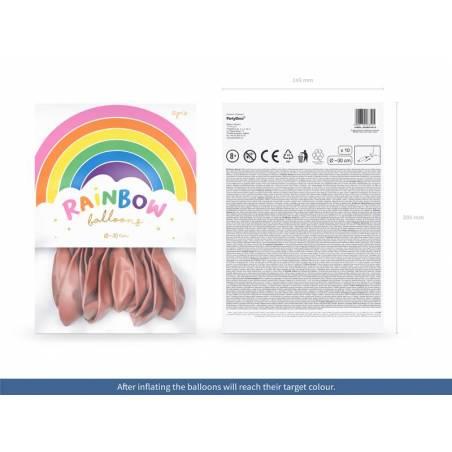 Ballons Rainbow 30cm or rose métallique