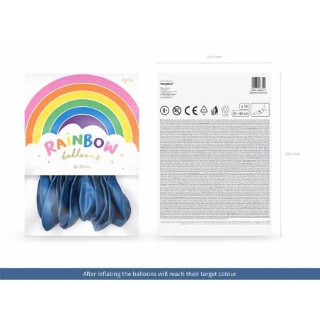 Ballons Rainbow 30cm bleu marine métallique