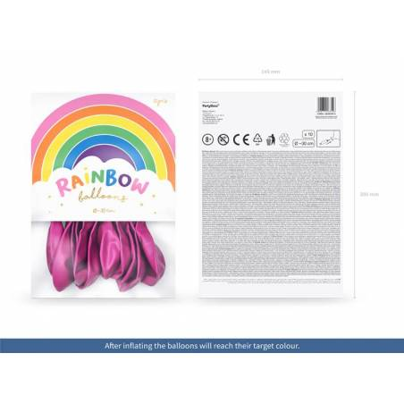 Ballons Rainbow 30cm fuchsia métallique
