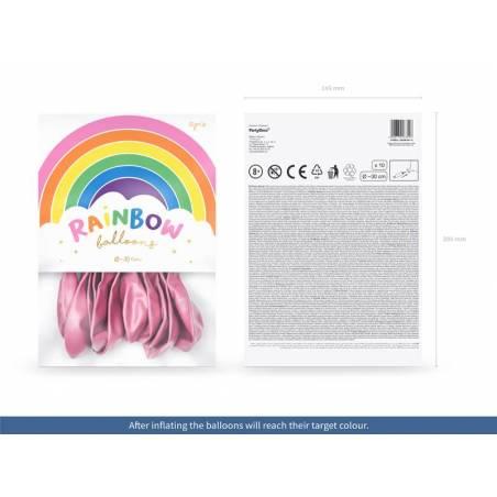 Ballons Rainbow 30cm rose métallique