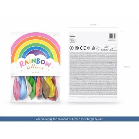 Ballons Rainbow 30cm mélange pastel