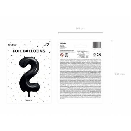 Ballon aluminium numéro 2, 86cm, noir