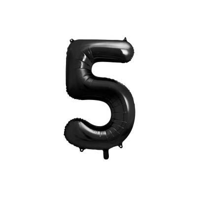 Ballon aluminium numéro 5, 86cm, noir