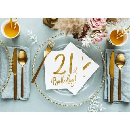 Serviettes de table 21e anniversaire blanc 33x33cm