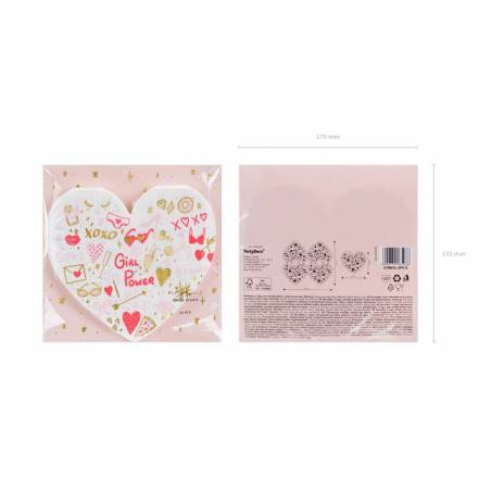 Serviettes Coeur mix 16x15cm
