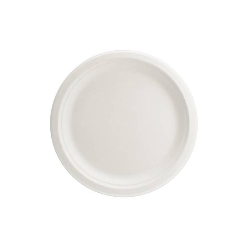 Assiettes canne à sucre blanc 22,5cm