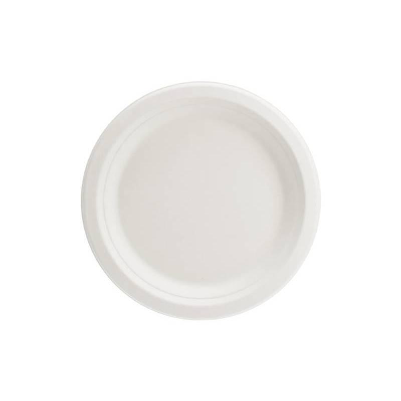 Assiettes canne à sucre blanc 17cm