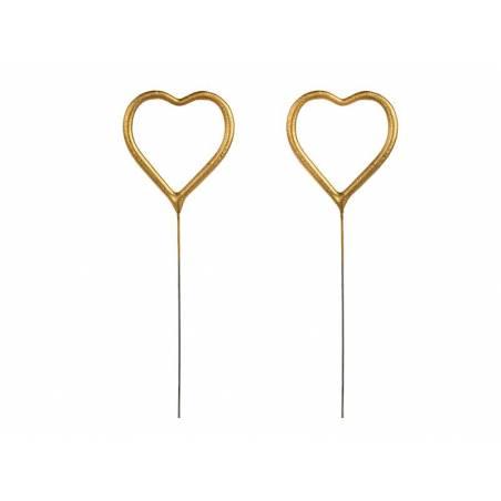 Cœur Sparklers doré 16,5 cm