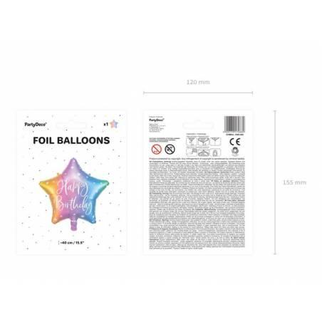 Ballon en feuille Happy Birthday, 40cm, mélange
