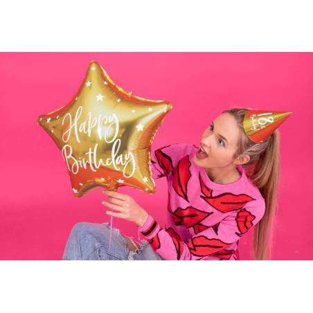 Ballon en feuille Happy Birthday, 40cm, or
