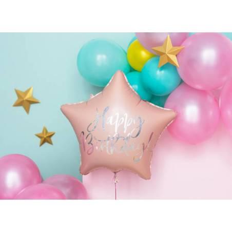Ballon en feuille Happy Birthday, 40cm, rose poudré clair