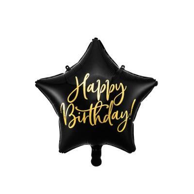 Ballon en feuille Happy Birthday, 40cm, noir