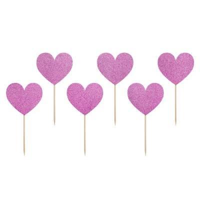 Décorations pour cupcakes Sweet Love - Coeurs rose foncé