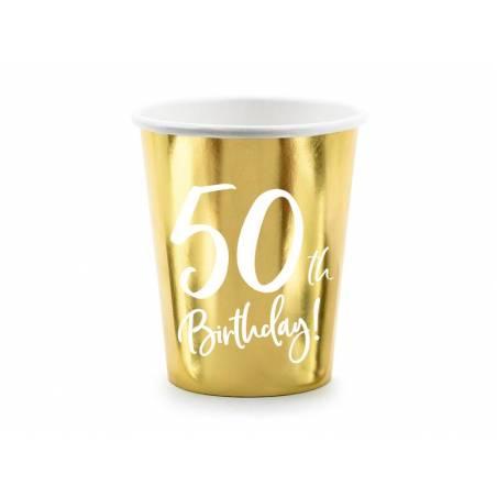 Gobelets en papier 50e anniversaire or 220ml