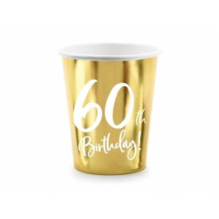 Gobelets en papier 60e anniversaire or 220ml