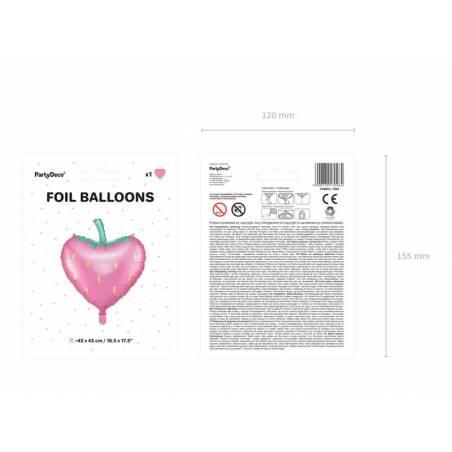 Ballon en feuille Fraise, 42x45cm, mélange