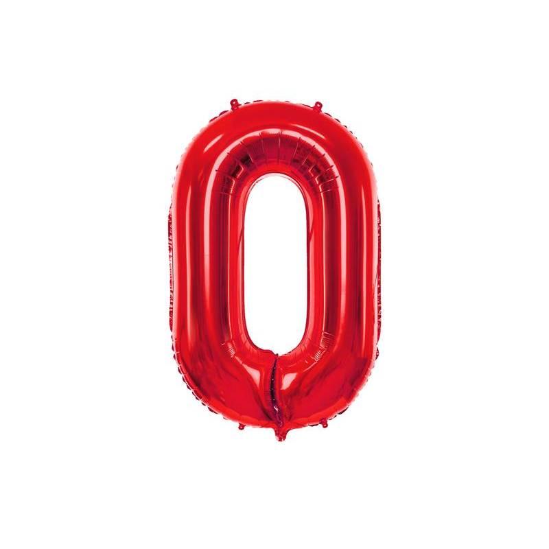Ballon en feuille Numéro ''0'', 86cm, rouge