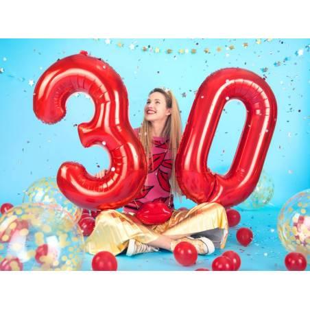 Ballon en feuille Numéro ''2'', 86cm, rouge