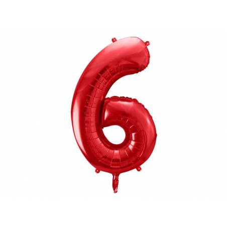 Ballon en feuille Numéro ''6'', 86cm, rouge