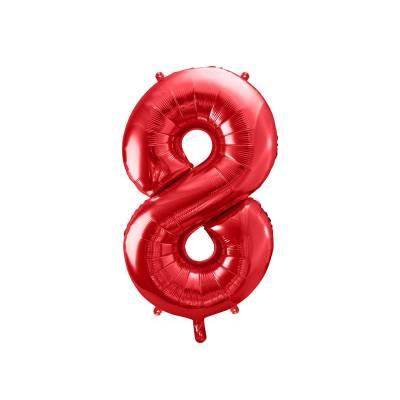 Ballon en feuille Numéro ''8'', 86cm, rouge