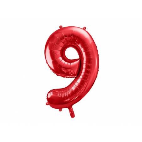 Ballon en feuille Numéro ''9'', 86cm, rouge