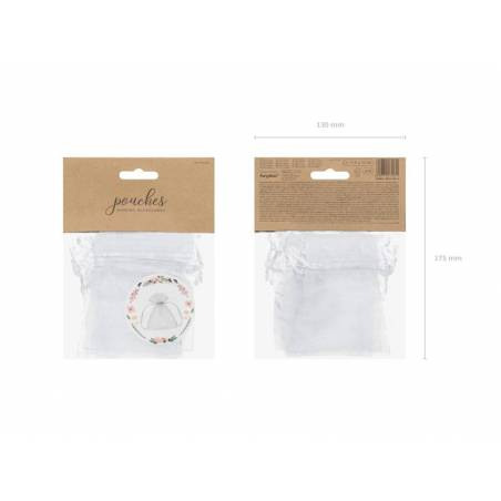Pochettes en organza blanches 10cm