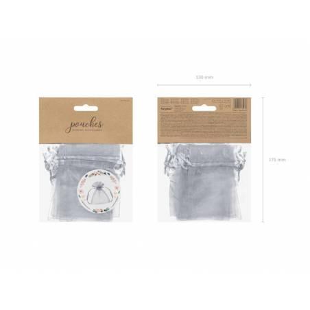 Pochettes en organza argent 10cm