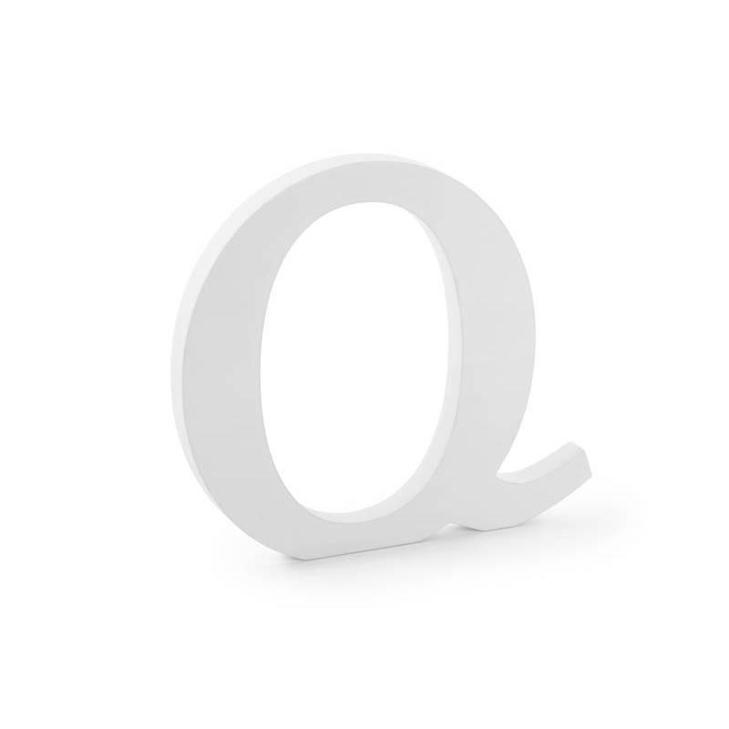Lettre Q en bois, blanche, 22.5x20.5cm