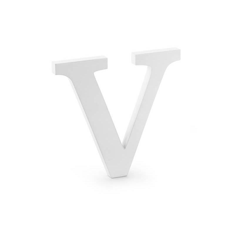 Lettre V en bois, blanche, 21x20cm