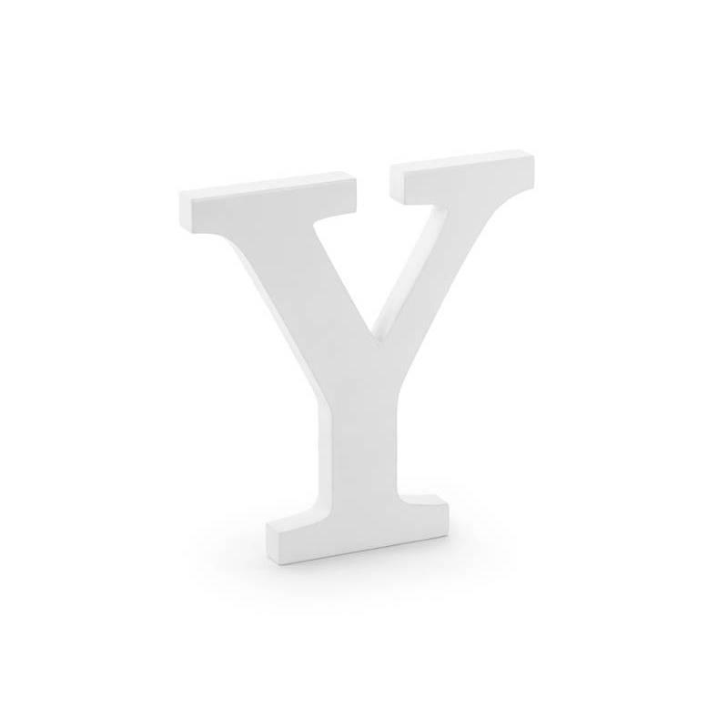 Lettre Y en bois, blanche, 19x20m