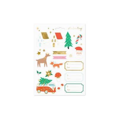 Autocollants de Noël Forêts d'hiver, mélange