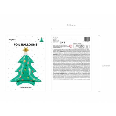 Arbre de Noël de ballons en papier aluminium, 78x94cm, mélange